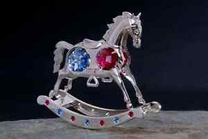 Rocking Horse FIGURINE - ORNAMENT SILVER PLATED WITH AUSTRIAN BLUE CRYSTALS