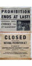 2 Prohibition Era Repro Signs - Closed - Prohibition Ends, 11x14, posters