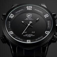 SHARK White Military LED Day Date Analog Sport Quartz Men's Wrist Watch Black