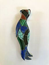 Vintage Sterling Silver Inlay Bird Pin/Pendant Turquoise Onyx Lapis Malachite