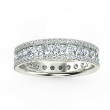 2 Row Round Diamond Full Eternity Wedding Designer Ring, Platinum