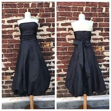 Bill Levkoff 10 Vtg Black Strapless Ruched Bow Back Poofy Formal Prom Dress Gown