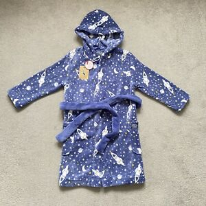 BNWT JOULES Space Rockets Blue Fleece Dressing Gown Robe Boys Pyjamas 5-6 Years
