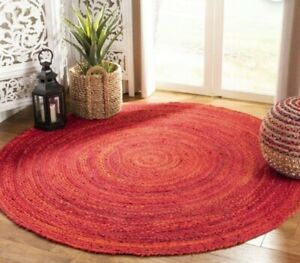 indian hand braided colorful cotton large area round rugs beautiful rug 5x5-73