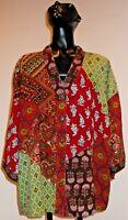 NWT Sacred Threads Rayon Patch Bohemian Gypsy  Kimono Sleeves Top Blouse Plus SM