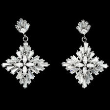 Sterling Silver 925 Bright White Lab Created Diamond Cluster Drop Earrings