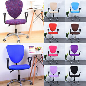 Split Chair Covers Swivel Antiskid Seat Protector Solid Color Elastic Stretch