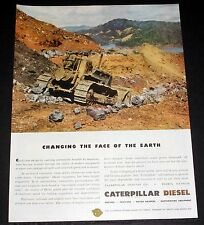 1945 OLD WWII MAGAZINE PRINT AD, CATERPILLAR, CHANGING THE FACE OF THE EARTH!