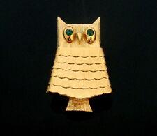 1970s vergoldete, große Medaillon (zum öffnen/schließen) Eule Eulen Brosche, Owl