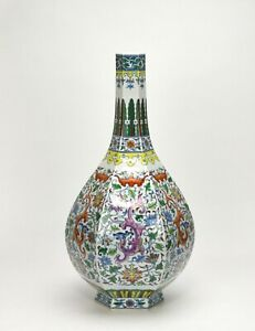 Large Chinese Qing Yongzheng MK Doucai Dragon 6 Side Tall Neck Porcelain Vase