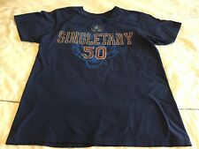 "Mike Singletary ""50"" Hall of Fame (Size Adult L) Short-Sleeve Navy T-Shirt"