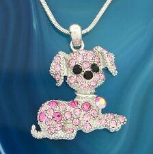 "DOG W Swarovski Crystal Pink Beagle Puppy Pet Friend Pendant Necklace 18"" Chain"