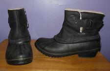 Fabulous Sorel Black Leather & Rubber Duck Boots! Waterproof Women's 8.5 M