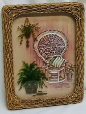 """Home Interior Homco""""Vintage Wicker Frame/2 flower Pots on Glass""""Picture"""