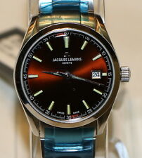 Jacques Lemans G-127D Mujer Marrón Cara Acero Inoxidable Suizo Made Cuarzo Reloj