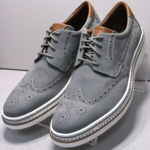 253719 MS50 Men Shoes Size 10 M Gray Leather Lace Up Wing Tips Johnston & Murphy