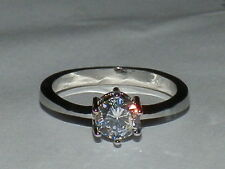 Silver Plated .75  Carat Round Solitaire Engagement Cz Ring ...Sz  7