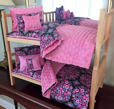 """Doll Bunk Bed Stackable & 10PC Bedding With Mattress 18"""" Girl Doll American Made"""