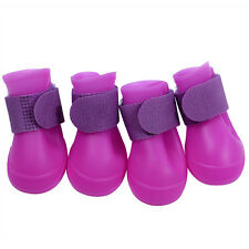4pcs Waterproof PVC Dog Boots Non-Slip Rain Snow Protective Shoes for Puppy & Do