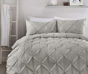 RUCHED PINTUCK DIAMONDS GREY COTTON BLEND KING SIZE DUVET COVER