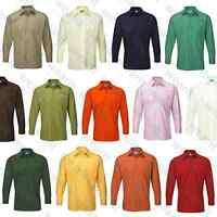 Mens Long Sleeve Shirt Business Work Wear Formal Smart Plain Suit Casual Shirt