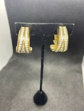 Large Gold Tone Clear Crystal Signed Swarovski Clip Earrings