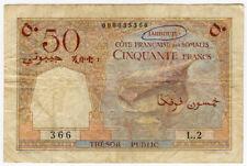 FRENCH SOMALILAND 1952 ISSUE 50 FRANCS NOTE CRISP AVF.PICK#25.