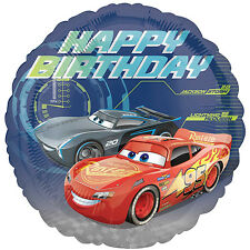 """Disney Cars 3 Mcqueen Tormenta Feliz Cumpleaños 18"""" Redondo Aluminio Globo De Helio Fiesta"""