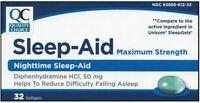 Nighttime Sleep-Aid Diphenhydramine HCI 50 mg 32 Softgel per Box FREE WORLD SHIP