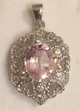 MARVELOUS TOP GEMS 4.20CT SOFT PINK KUNZITE & SAPPHIRE REAL 925 SILVER PENDANT