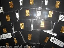 GOLD 1 TROY OUNCE 24K PURE SOLID TGR TEXAS BULLION BARS 999  INGOT 1/50 th LOT