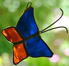 Small BLUE & ORANGE BUTTERFLY stained glass suncatcher Childrens Birthday Gifts