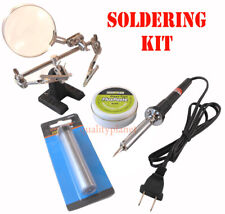New 60W Soldering Iron 20G Solder Flux Paste & Helping Hand Soldering Tool Kit