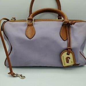 Dooney & Bourke Black Classic Lavender Nylon Satchel Handbag Leather Trim