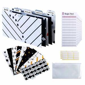 12 Pack Laminated Cash Envelopes System Money Envelopes with Tabs Budget Sheets