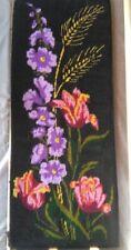 Vintage Handmade embroidery FINEWORK anemones flower for frame black pink purple