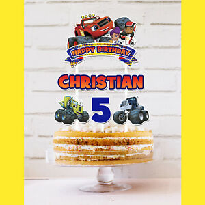 BLAZE & THE MONSTER MACHINES Cake Topper Personalised *STURDY*