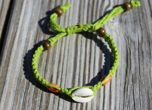 Adjustable Hemp Bracelet with Cowrie Shell Green HANDMADE IN USA