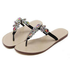 Summer Casual Women Ladies Sandals Rhinestone Flip Flops T-strap Shoes Plus Size