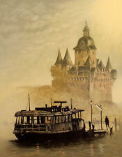 """John Kelly """"Rhine River"""" Signed Fine Art Lithograph Arches Paper, European Suite"""