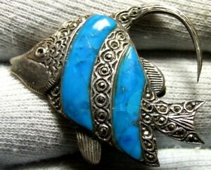 Antique fish with turquoise stones silver broache