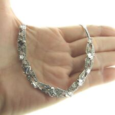 """Vintage Crystal Rhinestone Necklace Choker  9mm 16"""" Deco Style White Gold Filled"""
