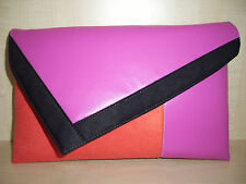 OVER SIZED BURNT ORANGE, PINK & BLACK  asymmetrical clutch bag, fully lined BN