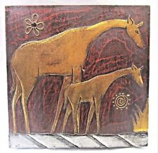 Giraffe Mother & Baby Hand Painted Wall Panel Rustic Home Decor Wall Art