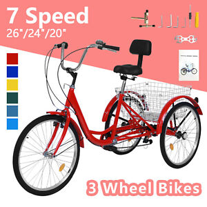 20/24/26inch Adult Tricycle 7 Speed 3 Wheel Adult Bicycle Trike w/Basket & Tools