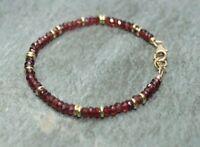 Natürlicher Granat facettierte Edelstein Perlen Armband 14 Karat Gold über Perle