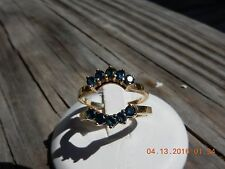 14k Yellow Gold Size 6 pair Australian blue sapphire ring guards/enhancers