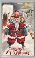 Elf Riding Santa Claus—Rare Antique CHRISTMAS 950 Toys Snow Drum UDB 1909