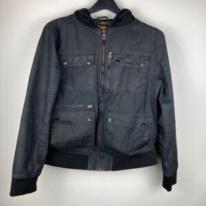 Empyre Surplus Co. Mens Jacket Black Full Zip Up Hooded Flap Pockets Snaps L