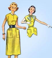 1950s Vintage Simplicity Sewing Pattern 4365 Simple FF Misses Jiffy Dress Sz 30B